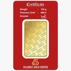 Gujarat Gold Centre Gold Bar Of 100 Gram 24Kt in 999 Purity / Fineness