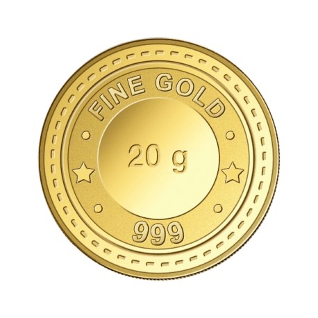 Gujrat Gold Centre Gold Coin Of 20 Gram 24Kt in 999 Purity / Fineness