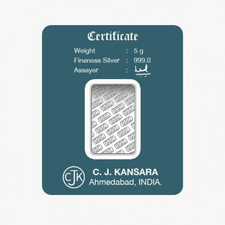 Gujrat Gold Centre Silver Bar Of 5 Gram in 999 24Kt Purity Fineness