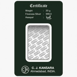 Gujrat Gold Centre Silver Bar Of 20 Gram in 999 24Kt Purity Fineness
