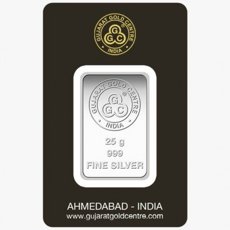 Gujrat Gold Centre Silver Bar Of 25 Gram in 999 24Kt Purity Fineness