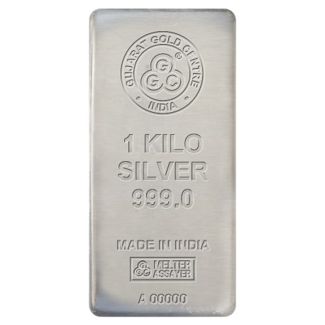 Gujrat Gold Centre Silver Cast Bar Of 1 Kg in 999 24Kt Purity Fineness