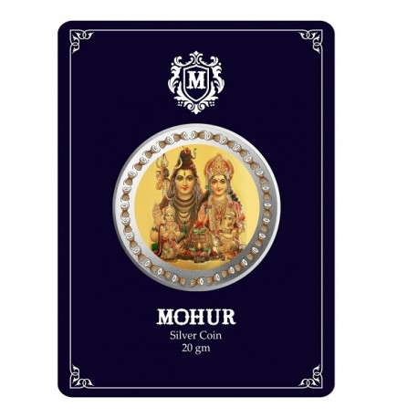Mohur Color Shiv Parvati Silver Coin Of 20 Gram in 999 Purity / Fineness