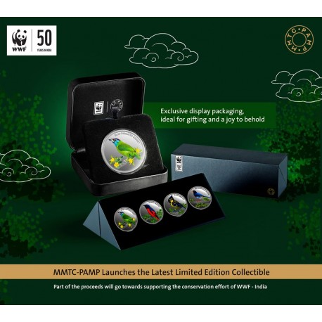 MMTC PAMP 2020 Conserve WWF Bird Series Silver Coin 1 oz / 31.10 gm in 999.9 Purity Set of Four