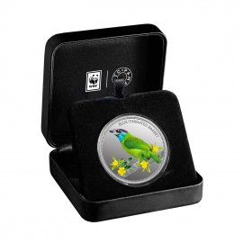 MMTC PAMP The Blue Throated Barbet Silver Coin Of Conserve WWF 2020 Series 1 oz / 31.10 gm 999.9 Purity