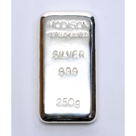 Modison Silver Casted Bar of 250 Grams in 999 Purity /Fineness