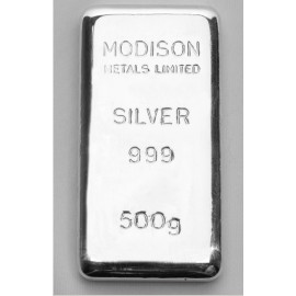 Modison Silver Casted Bar of 500 Grams in 999 Purity /Fineness