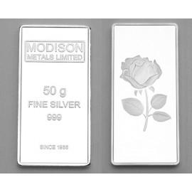 Modison Silver Bar of 50 Grams in 24Kt 999 Purity Fineness in Paper Folder Packing
