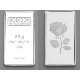 Modison Silver Bar of 25 Grams in 24Kt 999 Purity Fineness in Paper Folder Packing