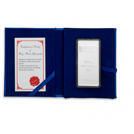 Modison Silver Bar of 100 Grams in 24Kt 999 Purity Fineness in Flap Packing