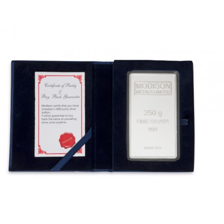 Modison Silver Bar of 250 Grams in 24Kt 999 Purity Fineness in Flap Packing
