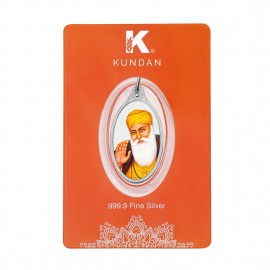 Kundan Silver Oval Color Gurunanak Dev Pendant Of 5.11 Grams in 999 Purity / Fineness
