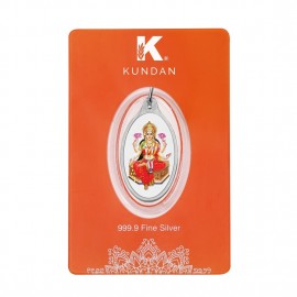 Kundan Silver Oval Color Lakshmi Pendant Of 5.11 Grams in 999 Purity / Fineness