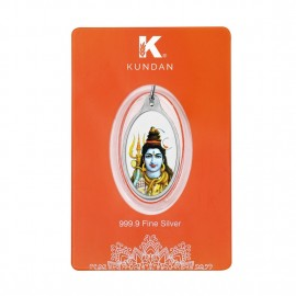 Kundan Silver Oval Color Shiva Pendant Of 5.11 Grams in 999 Purity / Fineness