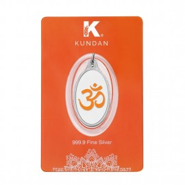 Kundan Silver Oval Color Om Pendant Of 5.11 Grams in 999 Purity / Fineness