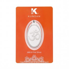 Kundan Silver Oval Om Pendant Of 5.11 Grams in 999 Purity / Fineness