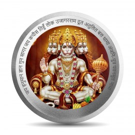 Mohur Color Hanuman Silver Coin Of 10 Gram in 999 Purity / Fineness