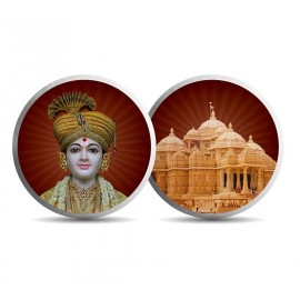 Mohur Color Akshardham TempleSilver Coin Of 10 Gram in 999 Purity / Fineness