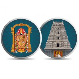 Mohur Color Balaji Temple Silver Coin Of 10 Gram in 999 Purity / Fineness