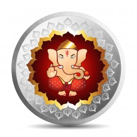 Mohur Color Ganesh Silver Coin Of 10 Gram in 999 Purity / Fineness