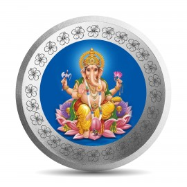 Mohur Color Ganeshji Silver Coin Of 10 Gram in 999 Purity / Fineness