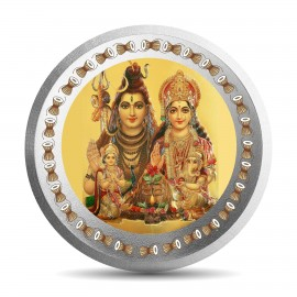 Mohur Color Shiv Parvati Silver Coin Of 10 Gram in 999 Purity / Fineness