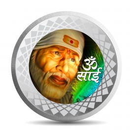 Mohur Color Sai Baba Silver Coin Of 50 Gram in 999 Purity / Fineness