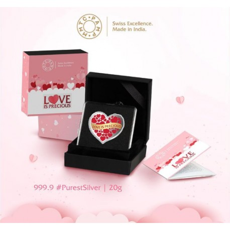 MMTC PAMP Silver Coin Love is Precious of 20 Gram in 999.9 Purity / Fineness