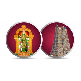 Mohur Color Meenakshi Temple Silver Coin Of 20 Gram in 999 Purity / Fineness