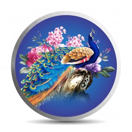 Mohur Colorful Peacock Silver Coin Of 50 Gram in 999 Purity / Fineness