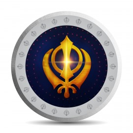Mohur Colorful Khanda Silver Coin Of 100Gram in 999 Purity / Fineness