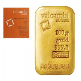 Valcambi Suisse Gold Casted Ingot Bar of 100 Grams 24 Karat in 999 Purity / Fineness with Serial Number Certificate