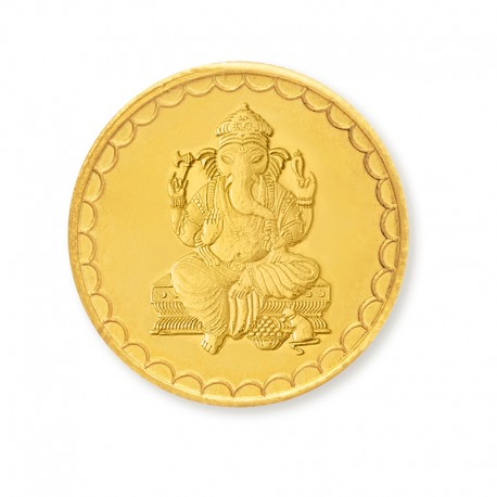 Lord Ganesha Gold Coin Of 10 Gram 24Kt in 999 Purity / Fineness from Gujarat Gold Centre