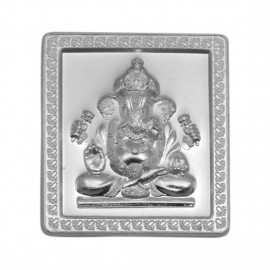 Silver 100 Gram Square Embossed Bar of Ganesh in 999 Purity