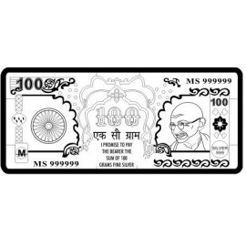 Gandhiji Silver Note of 100 Gram in 999 Purity / Fineness
