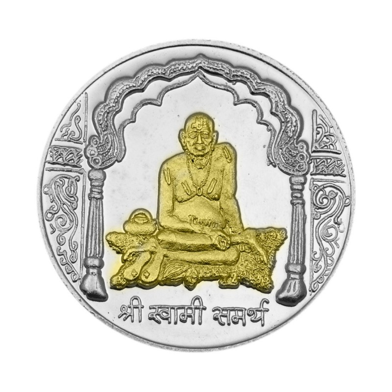 Buy Swami Samartha Silver Coin Of 10 Gram In 999 Purity