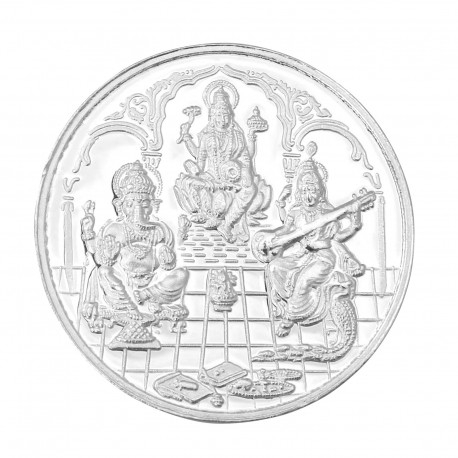 RSBL Silver Coin 100 Grams Trimurti Coin - 100 gm / 100 gms 24Kt
