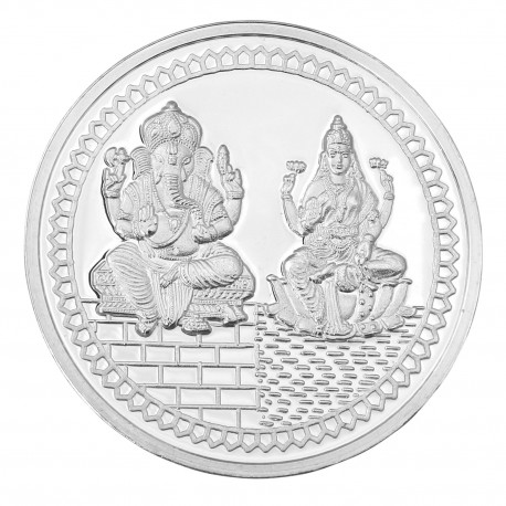 Lakshmi Ganesh Silver Coin Of 10 Gm In 999 Purity Fineness