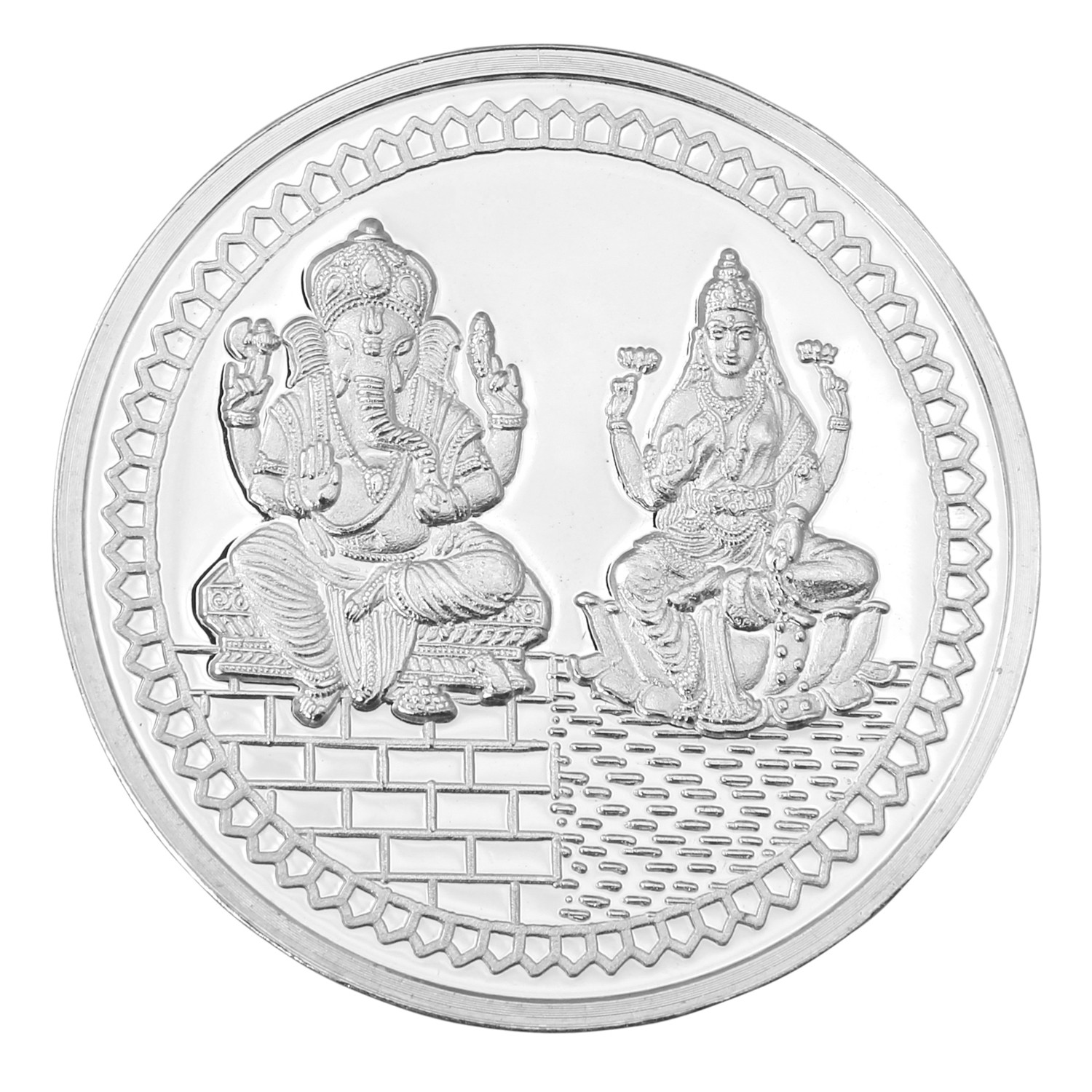 Lakshmi Ganesh Silver Coin Of 50 Gm 24kt 999 Purity