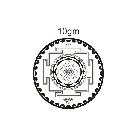 Laxmi Yantra Silver Coin of 10 Gram in 999 Purity / Fineness
