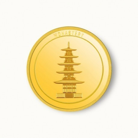 IBJA Buddhist Temple Monastery Gold Coin of 5 Gram 24Kt in 995 Purity / Fineness