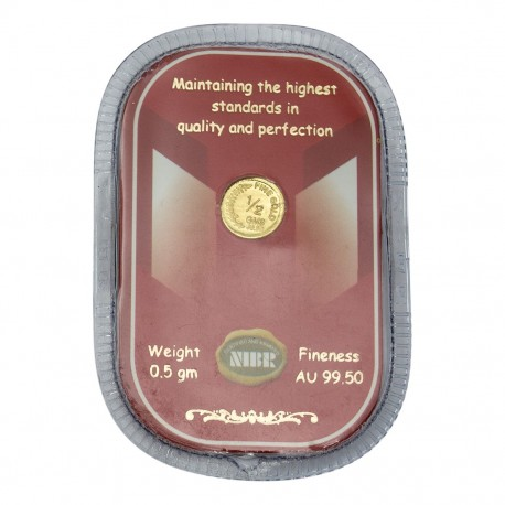 NIBR Gold coin of 0.5 Grams in 24 Karat 995 Purity / Fineness - 0.5 gm / 0.5 grams