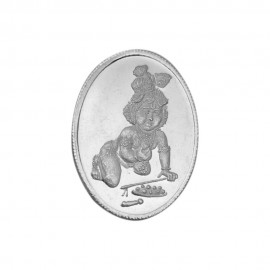 Bal Krishna 5 Gram Silver Coin in Oval Shape in 999 Purity / Fineness