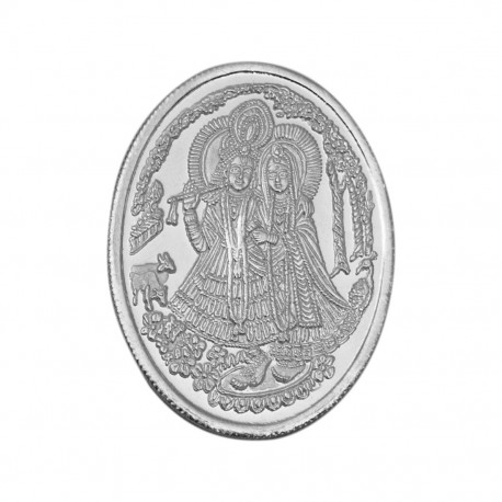 Radha Krishna Oval Shape Silver Coin of 25 Gram in 999 Purity / Fineness