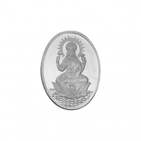 Laksmi 100 Gram Silver Coin in Oval Shape in 999 Purity / Fineness