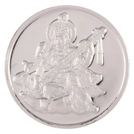 Goddess Saraswati Silver Coin of 20 Gram in 999 Purity / Fineness