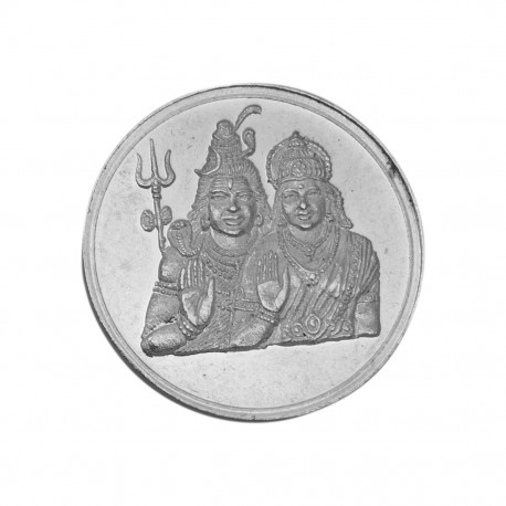 Buy Shiva Parwati Silver Coin Of 100 Gram In 999 Purity