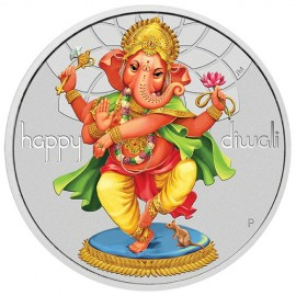 Colourful Goddess Dancing Ganesh Silver Coin Diwali Festival 2018 Of 1 Ounce / 31.10 Grams By Tuvalu