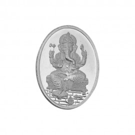 Oval Shape Ganesh Silver Coin of 10 gm in 999 Purity / Fineness By Coinbazaar