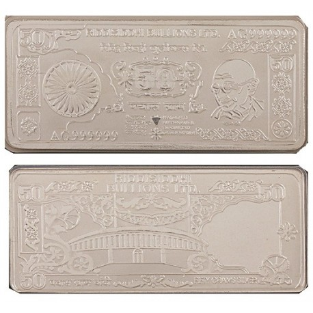 Silver Note of 50 Grams in 24Kt 999 Purity